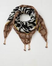 Sauvage animal print scarf in cotton black.
