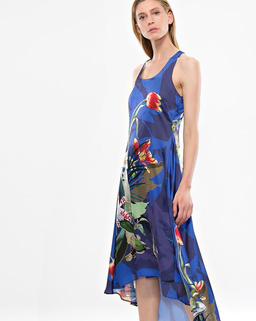 Béline long blue dress with floral print  (2) - 1-2-3