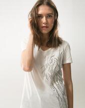 Nantua ecru embroidered t-shirt ecru.