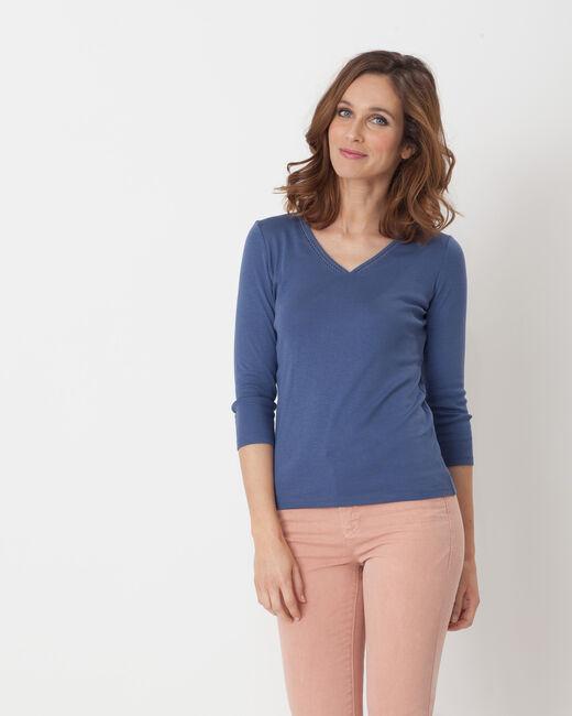 Tee-shirt bleu col brodé Noria (2) - 1-2-3
