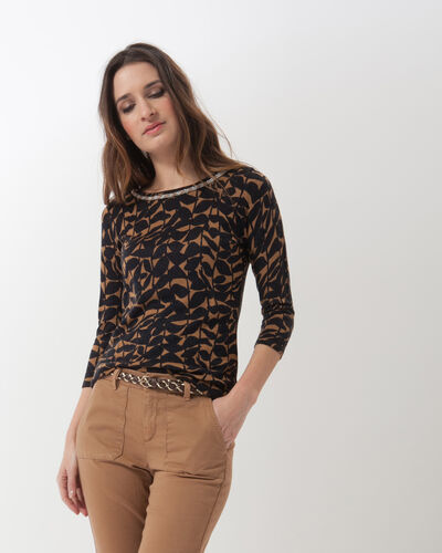 Hibiscus animal print T-Shirt with jewelled neckline (1) - 1-2-3