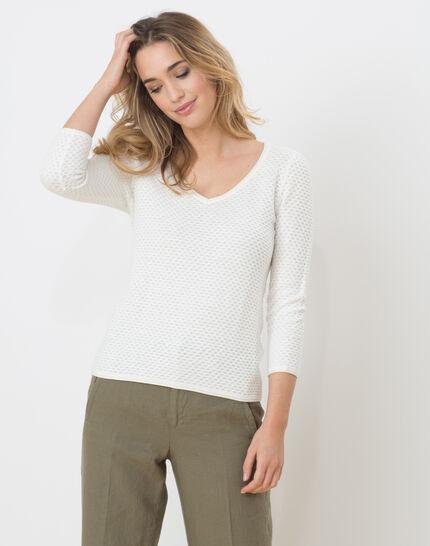 Heidi white sweater with stunning stitchwork PhotoZ | 1-2-3