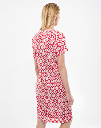 Birdy red, printed, embroidered dress (4) - 1-2-3