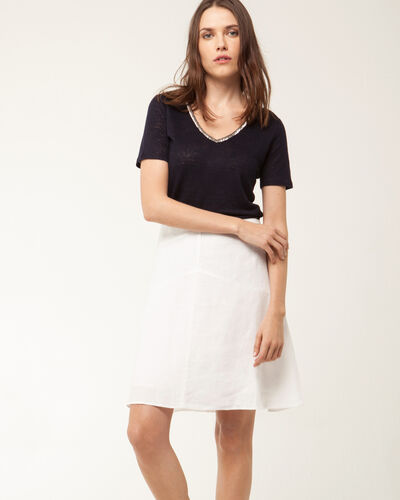 Nice navy blue T-shirt with beaded neckline (2) - 1-2-3
