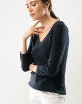 Heidi blue sweater with stunning stitchwork dark indigo.