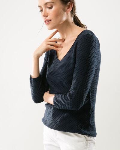 Heidi blue sweater with stunning stitchwork (1) - 1-2-3