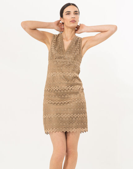 Fever gilt dress in Lurex lace  (1) - 1-2-3