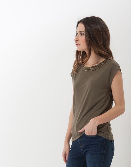 Natte khaki T-shirt with braided collar (3) - 1-2-3