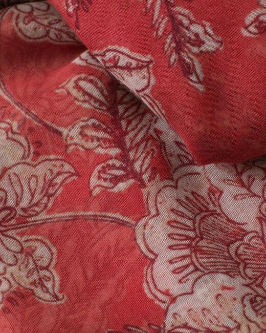 Foulard framboise imprimé floral Selia (2) - 1-2-3