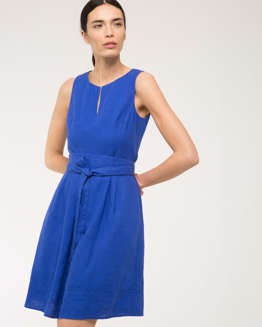 Okapi royal blue linen dress with belt (2) - 1-2-3