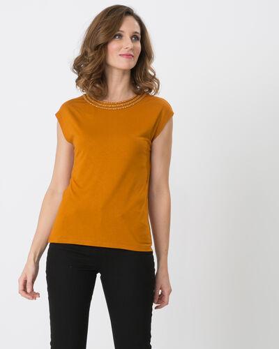 Natte ochre T-shirt with braided neckline (1) - 1-2-3