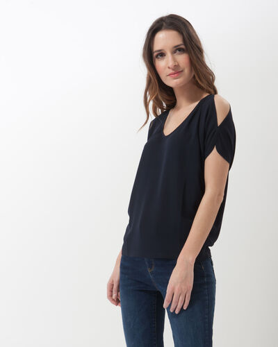 Nymphe navy blue T-shirt with nude shoulders (2) - 1-2-3