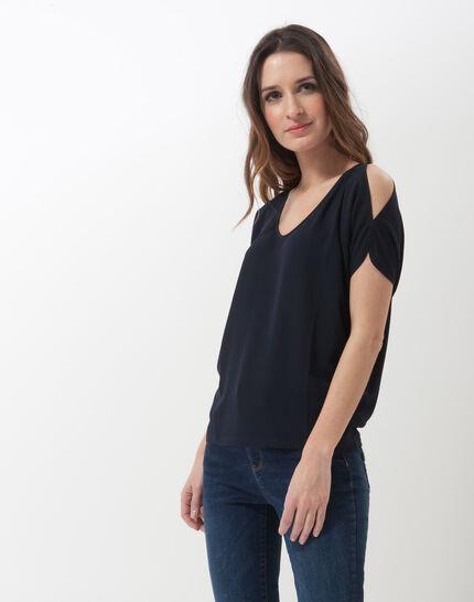 Tee-shirt bleu marine épaules dénudées Nymphe (2) - 1-2-3