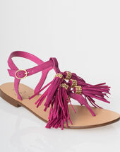 Julia fuchsia flat sandals with pompoms dark fuchsia.