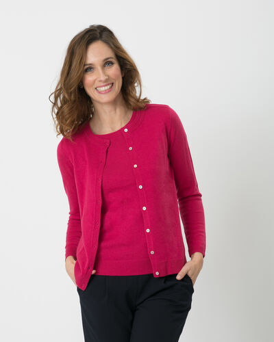 Gilet fuchsia col rond Happiness (2) - 1-2-3