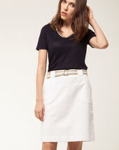 Camille belted white straight-cut skirt white.