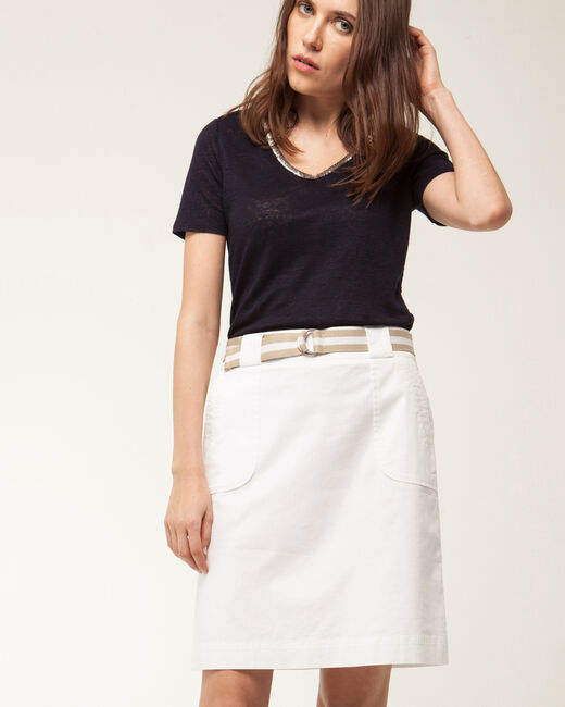 Camille belted white straight-cut skirt (2) - 1-2-3