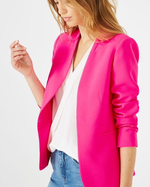 Veste rose fluo en crêpe Clara (1) - 1-2-3