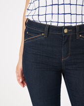 Pia raw-cut 7/8 length jeans dark indigo.