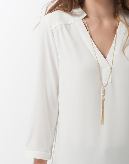 Fabien ecru blouse with necklace (5) - 1-2-3