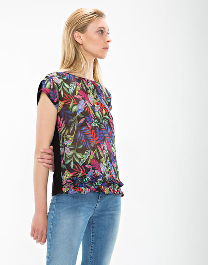 Nima black T-shirt with floral print (3) - 1-2-3