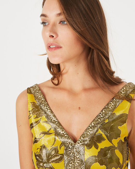Bonita shiny yellow printed dress (1) - 1-2-3