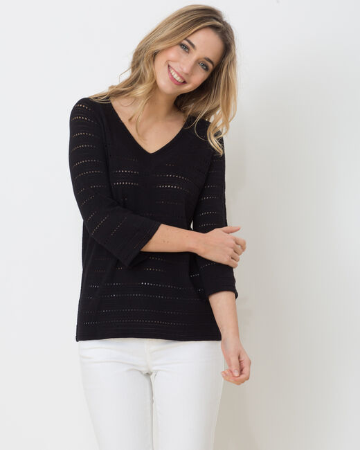 Hippie openwork sweater with 3/4 length sleeves (1) - 1-2-3