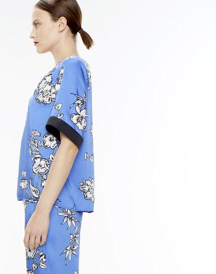 Blouse bleue imprimé fleuri Eclat (3) - 1-2-3