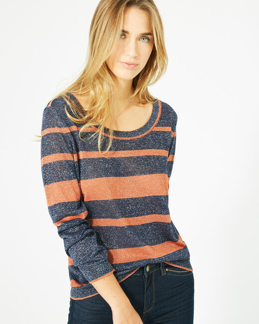 Pharaon orange glittery sweater with stripes! (2) - 1-2-3