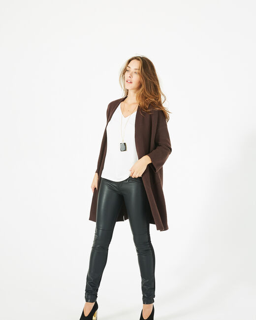 Panda long dark brown jacket (1) - 1-2-3