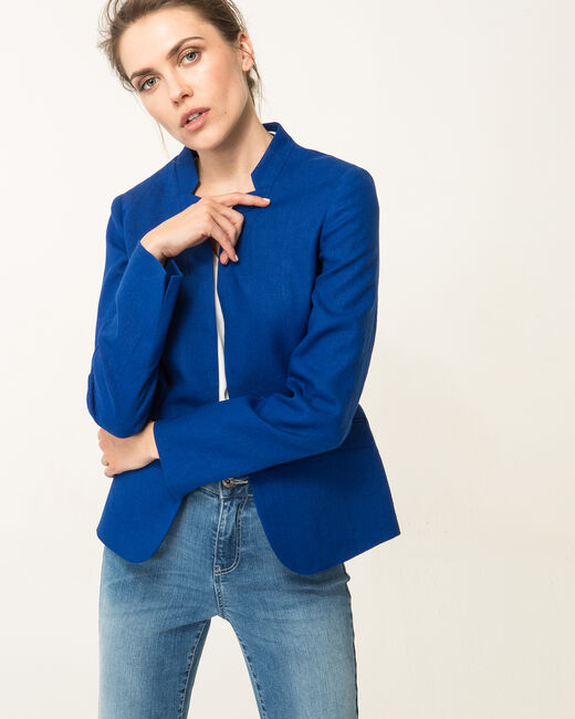 Veste bleu roi en lin Assina (2) - 1-2-3