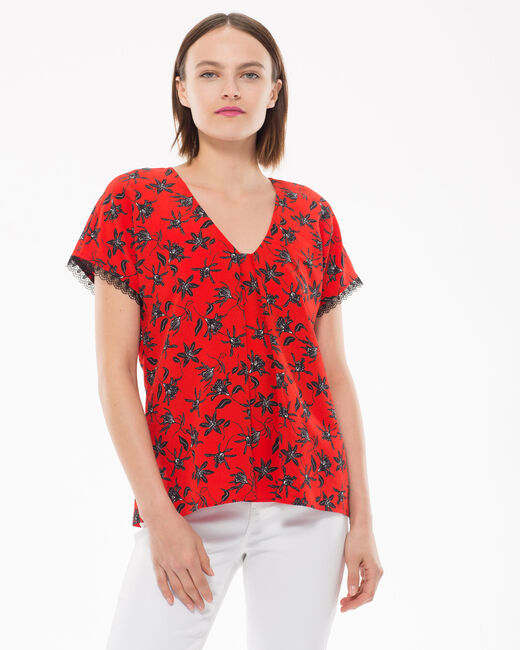 Eloge red blouse with floral print (1) - 1-2-3