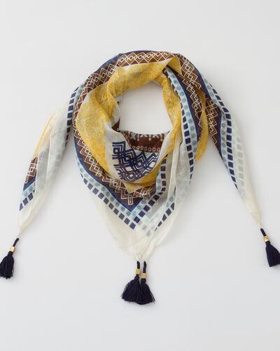 Soleil yellow printed scarf in silk (1) - 1-2-3