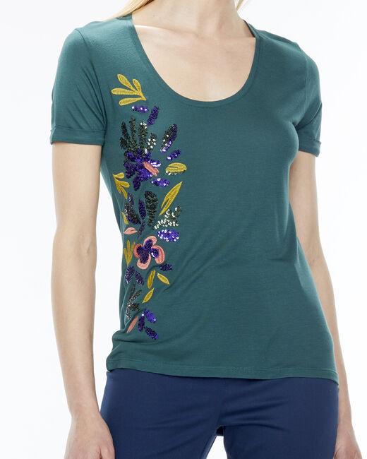 Tee-shirt vert sapin broderies Name (2) - 1-2-3