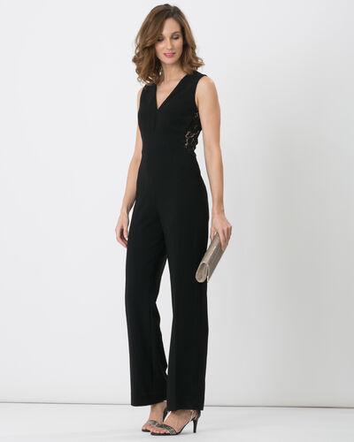 Fame black dual-fabric jumpsuit (1) - 1-2-3