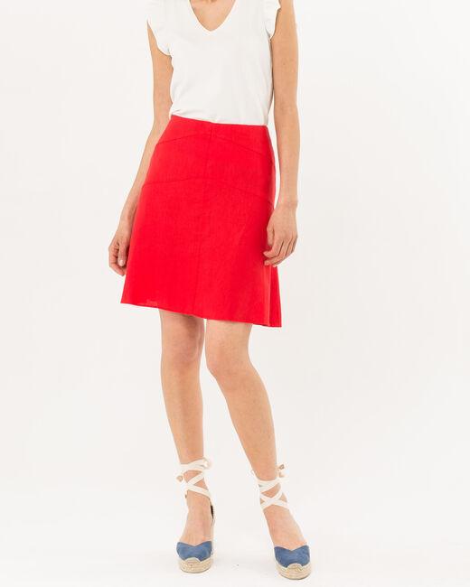 Jupe courte rouge en lin Clairon (2) - 1-2-3