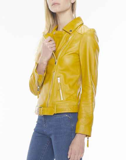 Gabriel yellow biker-style leather jacket (3) - 1-2-3
