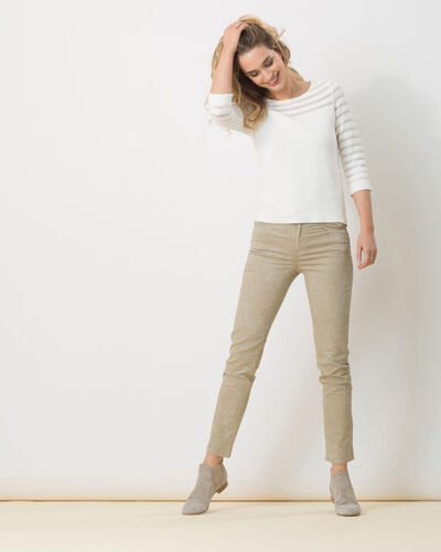 Pantalon beige imprimé Oliver (1) - 1-2-3