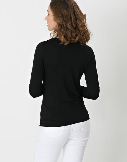 Lyubia black V-neck T-shirt adorned with Swarovski crystals (5) - 1-2-3