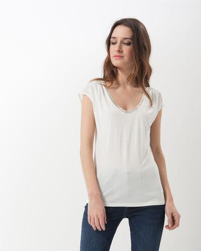 Nova ecru T-shirt with beaded neckline (1) - 1-2-3