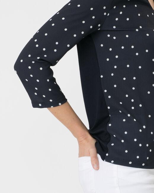 Tee-shirt bleu marine bi-matière Nao (1) - 1-2-3