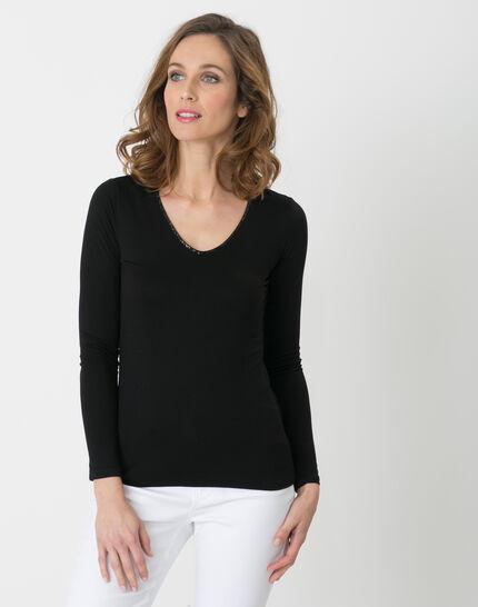Lyubia black V-neck T-shirt adorned with Swarovski crystals PhotoZ | 1-2-3