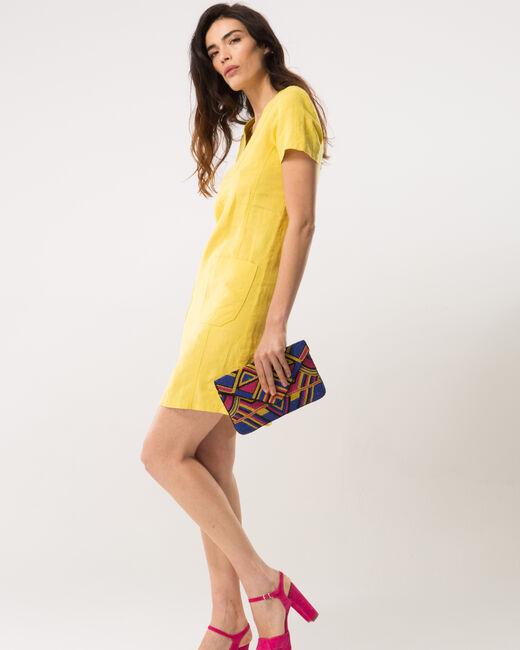 Robe jaune en lin Bisou (1) - 1-2-3