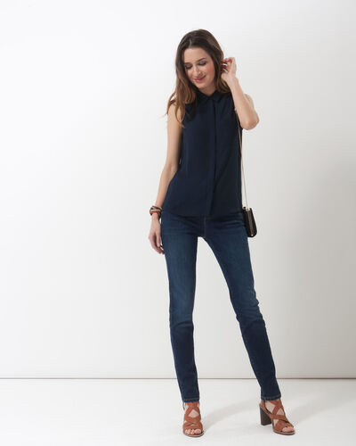 Top bleu marine col chemise Natalia (2) - 1-2-3