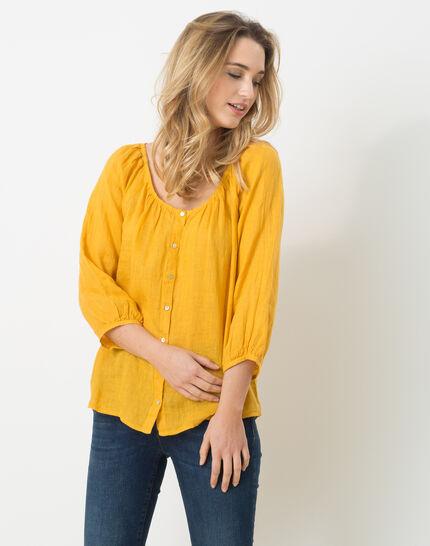 Erina yellow linen shirt PhotoZ | 1-2-3
