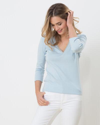Neck sky blue T-shirt with diamanté neckline (1) - 1-2-3