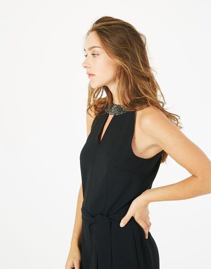 Carly black jumpsuit with Swarovski-embellished neckline (4) - 1-2-3