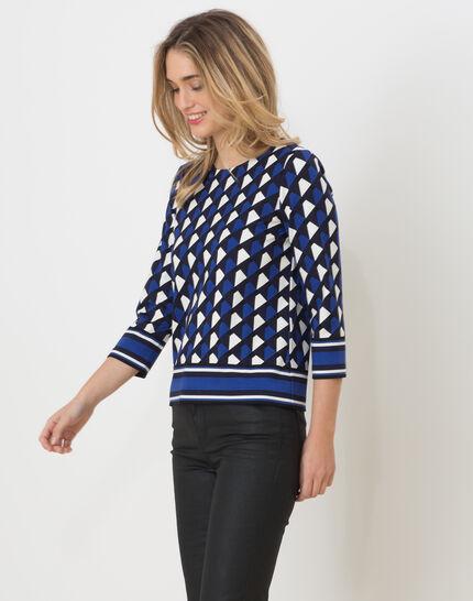 Tee-shirt bleu imprimé Losange (3) - 1-2-3