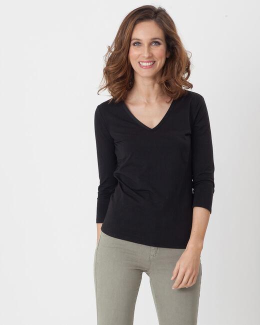 Tee-shirt noir manches 3/4 Nacre (2) - 1-2-3