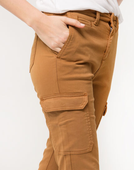 Damien 7/8 length camel trousers with large combat-style pockets (5) - 1-2-3